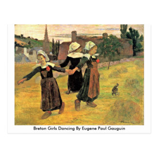 Bretonische Mädchen, die durch Eugene Paul Gauguin Postkarte