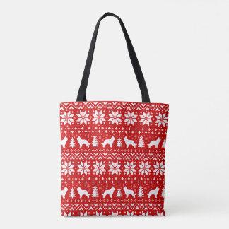 Briard Silhouette-Weihnachtsmuster-Rot Tasche