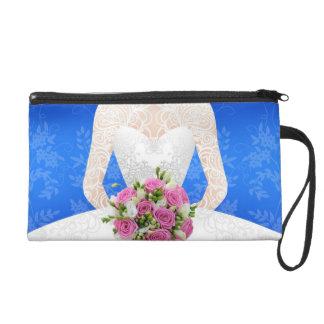 Bridal blue shower wristlet handtasche