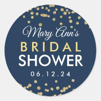 Bridal Favor Tag Gold Faux Glitter Confetti Navy Runder Aufkleber