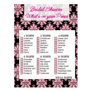 Bridal Shower game, What i, your purse Postkarte