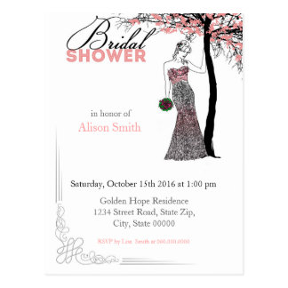 Bridal Shower romantic invitation Postkarte