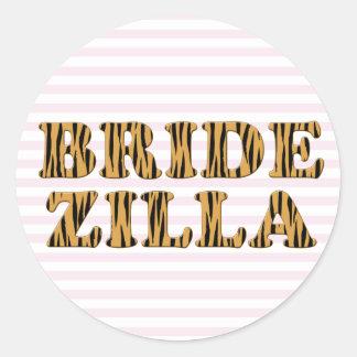 Bridezilla | rosa Streifen u. Tigerprint Aufkleber