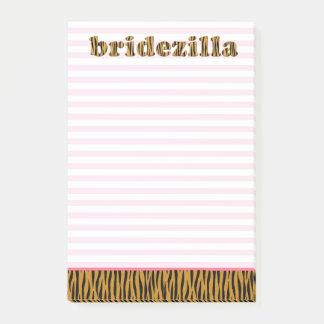 Bridezilla | rosa Streifen u. Tigerprint Post-it Klebezettel