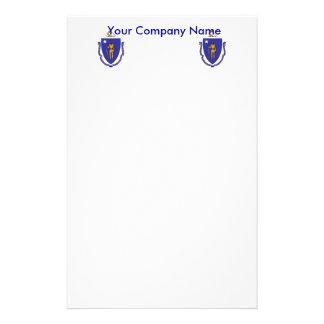 Briefpapier mit Flagge von Massachuttes