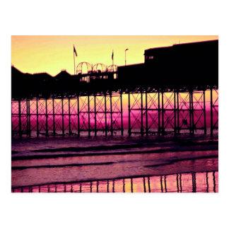 Brighton-Pier am Sonnenuntergang, Sussex, England Postkarte