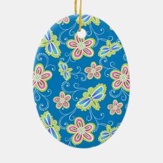 Brillant Blumen, Libellen und Wirbel auf Blau Keramik Ornament