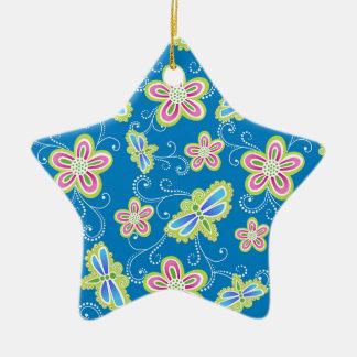 Brillant Blumen, Libellen und Wirbel auf Blau Keramik Stern-Ornament