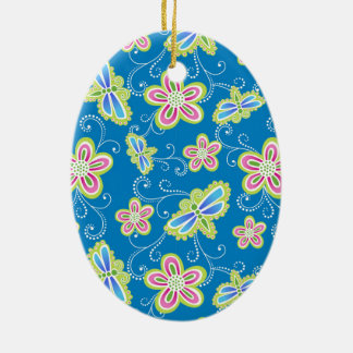 Brillant Blumen, Libellen und Wirbel auf Blau Ovales Keramik Ornament