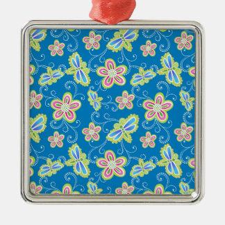 Brillant Blumen, Libellen und Wirbel auf Blau Quadratisches Silberfarbenes Ornament
