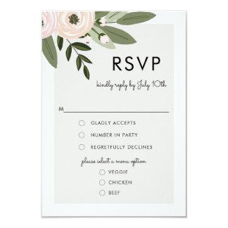 Brins floraux de mariage, carte de menu de RSVP