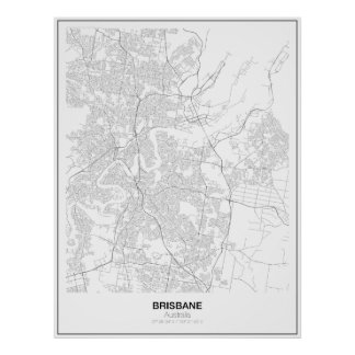 Brisbane, Australien, unbedeutendes Karte Plakat
