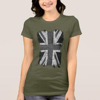 BRITISCHE Flagge des zackigen Grungy Monochroms T-Shirt
