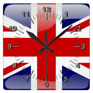 Britische glatte Flagge Quadratische Wanduhr