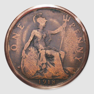 Britischer Penny 1918 (Satz von 6/20) Runder Aufkleber