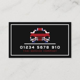 Britisches Flaggen-Taxi-Logo, Preisliste Visitenkarte