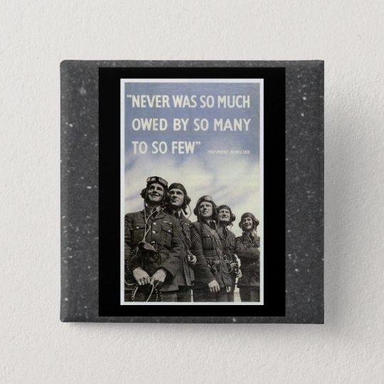 Britisches WW2 Churchill Zitat Quadratischer Button 5,1 Cm