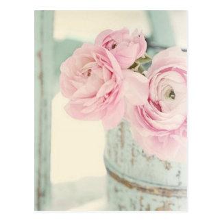 Broc chic minable de fleurs roses cartes postales
