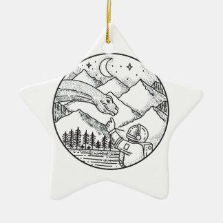 Brontosaurus-Astronauten-Gebirgskreis-Tätowierung Keramik Ornament