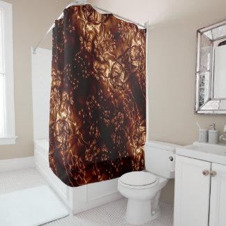 Bronzeblumenprägenkunst browns duschvorhang
