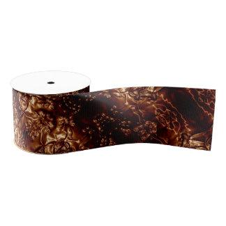 Bronzeblumenprägenkunst browns metallisch ripsband