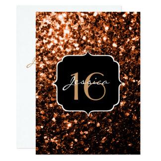 Bronzeeinladung Glitter-Glitzern Bonbon-16 14 X 19,5 Cm Einladungskarte
