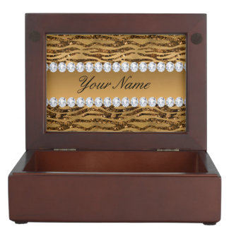 BronzegoldImitat-Foliezebra-Streifen Erinnerungsdose