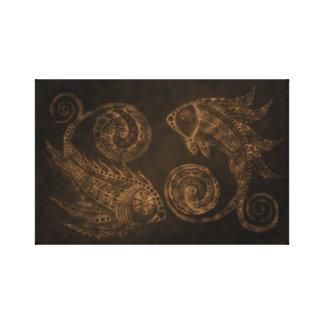Bronzepaisley-Fische Leinwanddruck