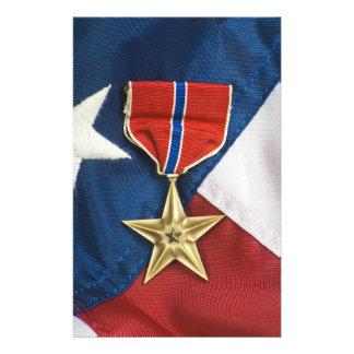 Bronzestern auf amerikanischer Flagge Briefpapier