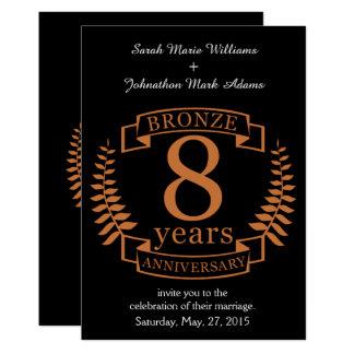 Bronzieren Sie achten Hochzeitstag 8 Jahre 12,7 X 17,8 Cm Einladungskarte