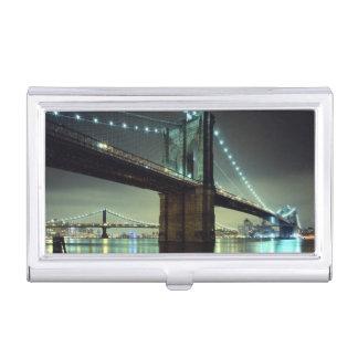 Brooklyn-Brücke an Nachtmanhattan-Brücke Visitenkarten Etui