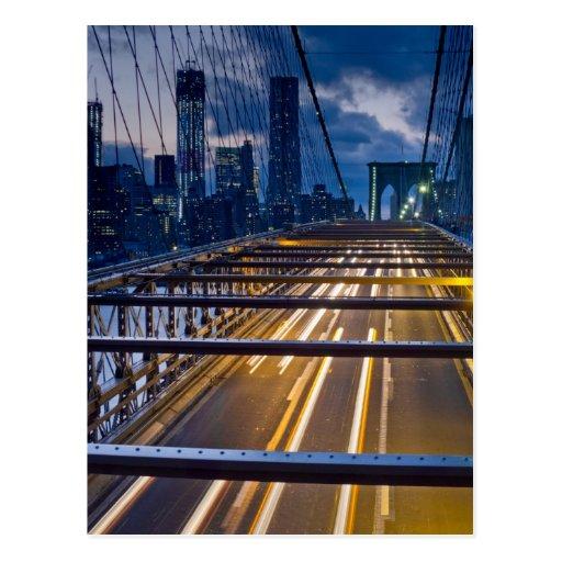 Brooklyn-Brücken-Lichter nachts Postkarte
