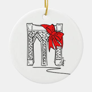 Brooklyn-Brücken-Weihnachtsverzierung New York NYC Rundes Keramik Ornament