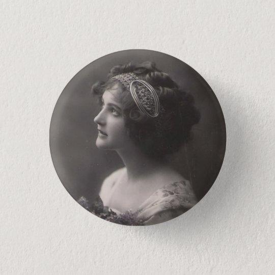 Brosche plattiert Dame vintage Runder Button 2,5 Cm