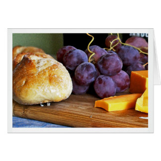 Brot-Trauben-Cheddar-Käse-Stillleben Karte