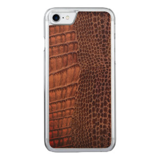Brown-Alligatorklassisches Reptil-Leder (Imitat) Carved iPhone 8/7 Hülle