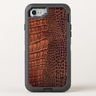 Brown-Alligatorklassisches Reptil-Leder (Imitat) OtterBox Defender iPhone 8/7 Hülle