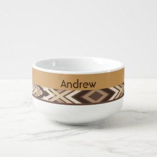 Brown-Azteke-Muster Große Suppentasse