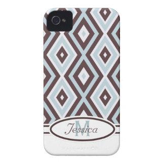 Brown bleu et caisse audacieuse de Blackberry de m Coques iPhone 4 Case-Mate