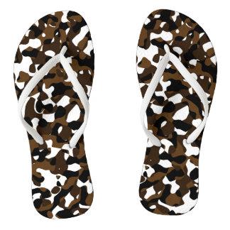 Brown-Camouflage Flip Flops