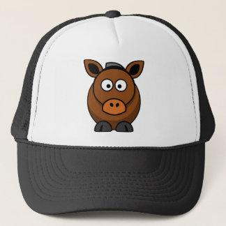 Brown-Cartoon-Esel stehend Truckerkappe