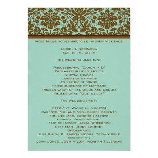 Brown-Damast-Hochzeits-Programm 12,7 X 17,8 Cm Einladungskarte
