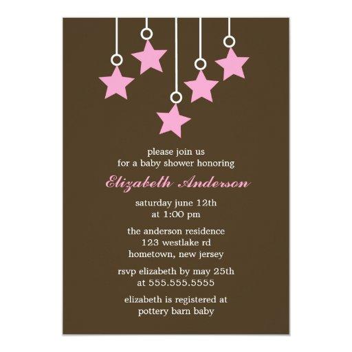 Brown et baby shower de mobile de rose carton d'invitation  12,7 cm x 17,78 cm
