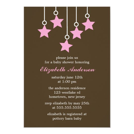 Brown et baby shower de mobile de rose carton d'invitation  12,7 cm x 17,78 cm