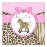 Brown et douche rose de bébé de cheval de invitations personnalisées