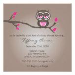 Brown et invitation rose de baby shower de hibou