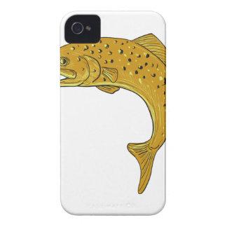 Brown-Forelle-springendes Zeichnen iPhone 4 Hüllen