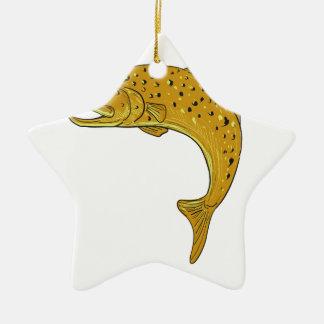 Brown-Forelle-springendes Zeichnen Keramik Stern-Ornament