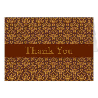 Brown-Golddamast-Babyparty danken Ihnen zu Karte