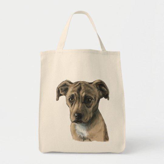 Brown-Gruben-Stier-Welpen-Zeichnen Einkaufstasche